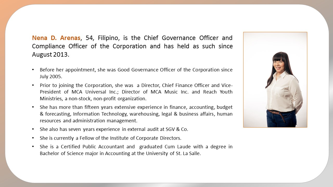 Semirara mining and power corporation - Corporate compliance officer ...